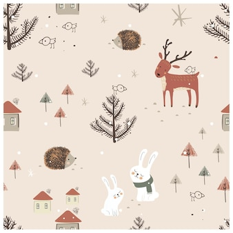 Scandinavian seamless pattern with cute animals house trees and landscape elements hand drawn