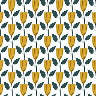 スカンジナビアの春の花ベクトルキッズシームレスな背景パターンベビーシャワー、テキスタイルデザイン。