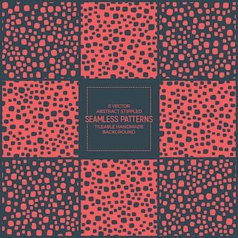 Scandinavian stippled abstract seamless patterns set