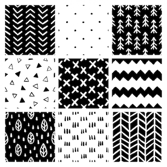 Scandinavian style abstract seamless patterns set.