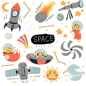 Scandinavian style colorful space doodle with cute cat hand drawn illustration