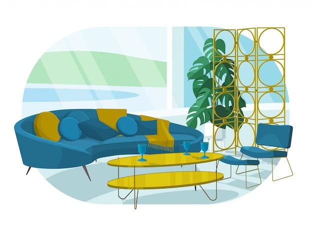 Скандинавский стиль дизайна интерьера, плоская иллюстрация.