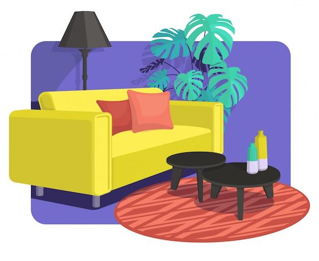 Scandinavian style interior design decoration, flat illustration.