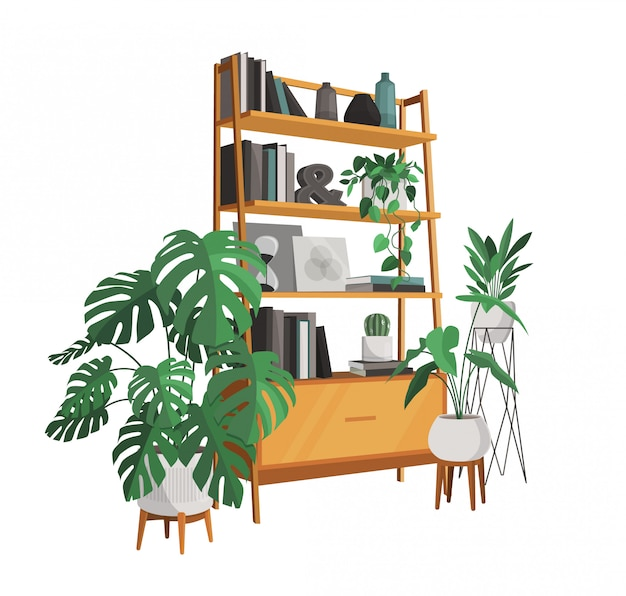 Scandinavian style interior design decoration, flat illustration.