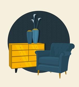 스칸디나비아 스타일 인테리어 디자인 장식, 평면 그림.