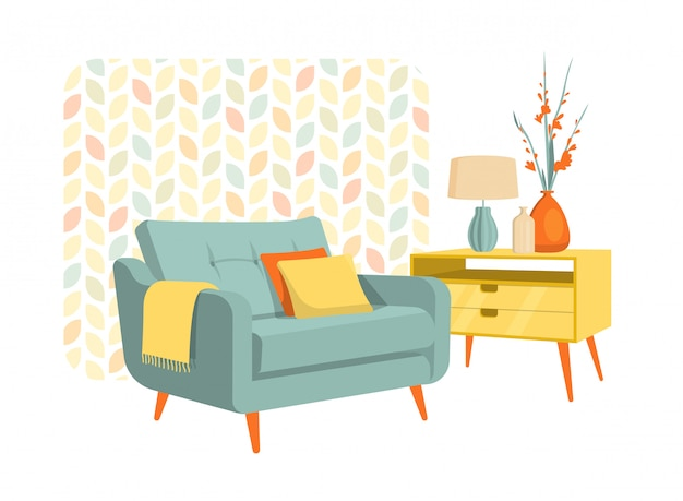 Scandinavian style interior flat design decoration, flat illustration.