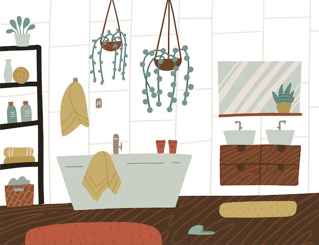 スカンジナビアスタイルのホームプラント付きバスルームのインテリア
