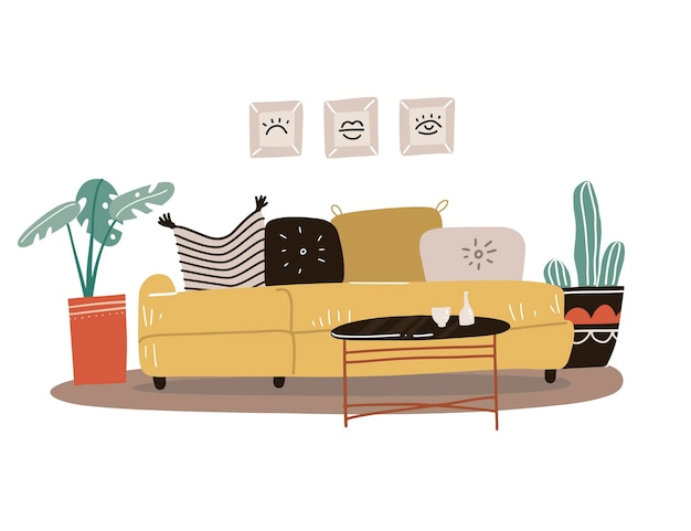 Scandinavian style living room interior concept. isolated yellow sofa with pillows and paintings in frames, potted plants, coffee table. flat hand drawn.