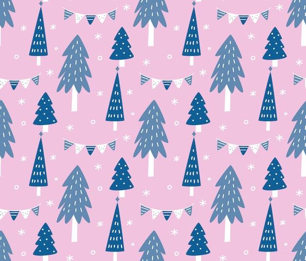 Scandinavian style pine tree seamless background