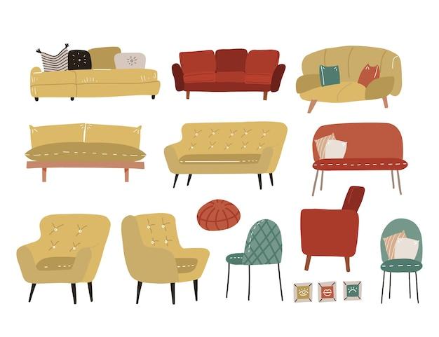 さまざまなクッション付き家具のスカンジナビアスタイルのセット-ソカ、ソファ、アームチェア、椅子、オットマン。モダンなスタイルのリビングルーム用の多くのタイプのアームチェアソファ。フラット手描きイラスト。