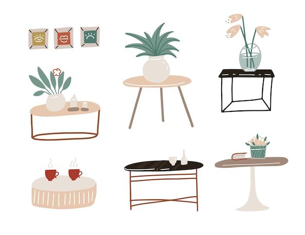 스칸디나비아 스타일 세트 다양한 커피 테이블, 현대적인 스타일의 거실 침대 옆 테이블. 플랫 손으로 그린 그림.