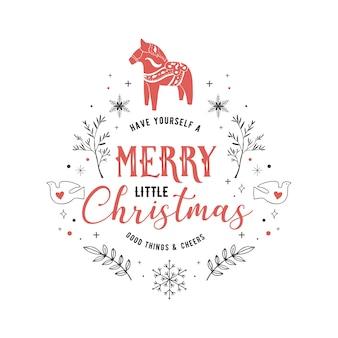 Скандинавский стиль, простая и стильная поздравительная открытка с рождеством христовым с рисованными элементами, цитатами, надписями