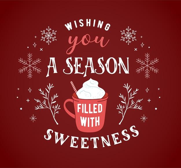 スカンジナビアスタイル、手描きの要素、引用符、レタリングとシンプルでスタイリッシュなメリークリスマスグリーティングカード