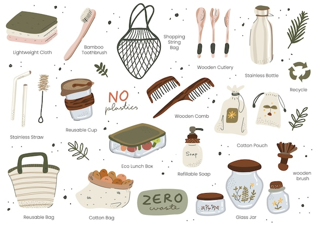 Scandinavian style zero waste hand drawn elements