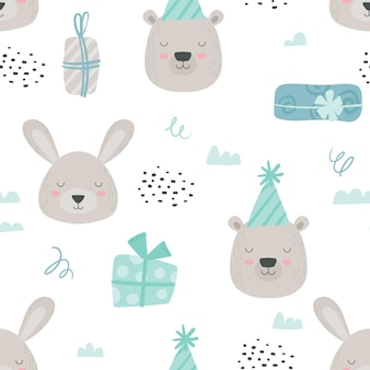 Scandinavian teddy animals seamless pattern. baby background with cute bear and rabbit in birthday hats and gift boxes. boy blue colored woodland paper or fabric design. cartoon vector illustration
