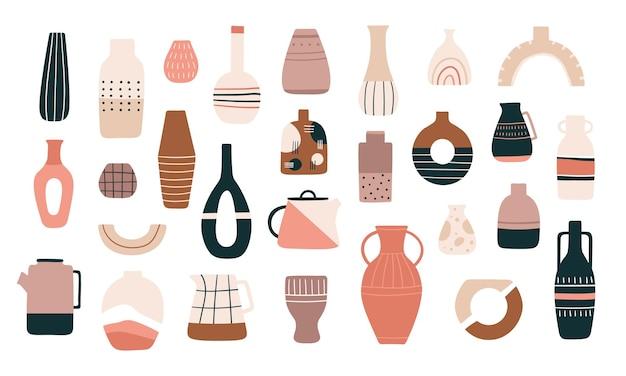 スカンジナビアの花瓶。ミニマルなトレンディなスタイルのセラミックの水差し、ポット、ティーポット。装飾的なピッチャー、アンティークの陶器のカップと花瓶のベクトルを設定します。イラスト伝統的な水差し、花瓶のセラミックと陶器
