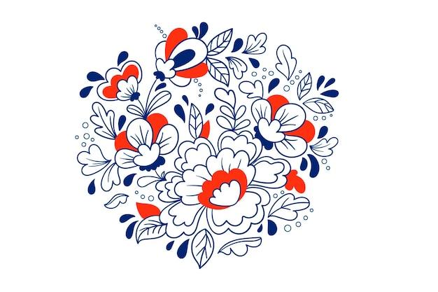 Скандинавский векторный образец народного искусства. цветочный орнамент. этнический декор в нордическом стиле. традиционная вышивка цветами темно-синего цвета.