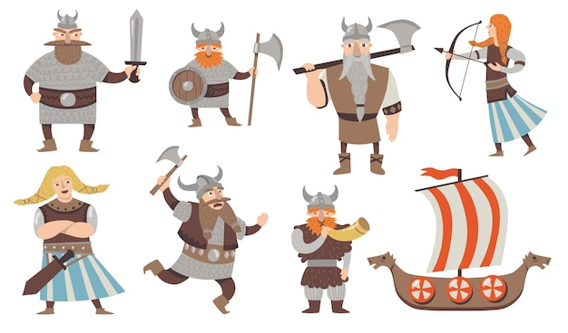 Scandinavian vikings set. medieval cartoon character, warriors and soldiers in armors with axes, traditional sailboat. isolated vector illustration for norway, culture, history, mythology