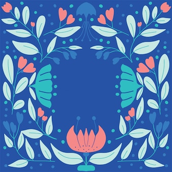 Scandinavian vintage folk art pattern with flowers