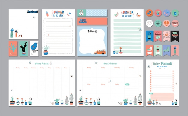Scandinavian weekly and daily planner template. organizer and schedule with notes and to do list. . . trendy holiday summer concept with graphic  elements