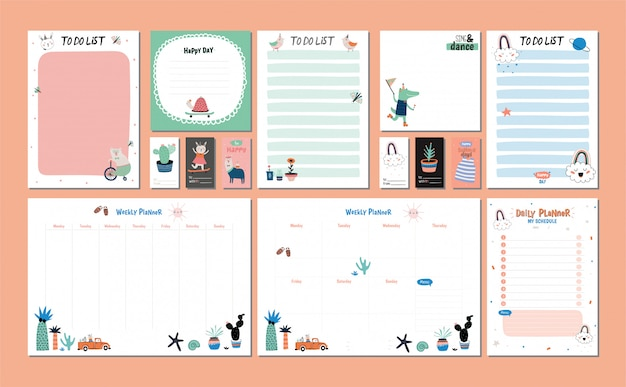 Scandinavian weekly and daily planner template. organizer and schedule with notes and to do list.