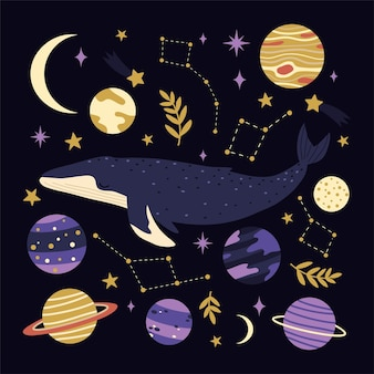 Scandinavian whale set for cards, party invitations, children textile