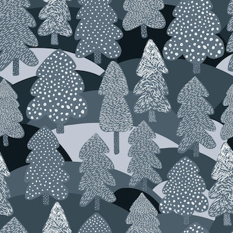 Scandinavian winter pine tree seamless pattern. doodle forest background. naive art style. hand drawn design for fabric, textile print, wrapping paper, children textile. vector illustration