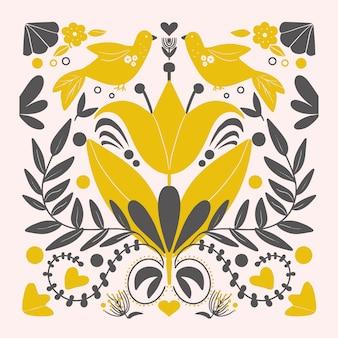 Scandinavian yellow  birds pattern folk art