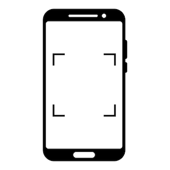 Scanning or camera interface in phone screen. viewfinder, grid, focus, button and rec. simple smartphone mockup for photography, selfie and video. glyph icon. vector