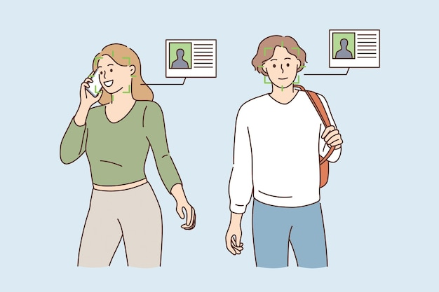 Scanning faces and identity concept. young smiling man and woman cartoon characters standing with green scan on faces and identity cards nearby vector illustration