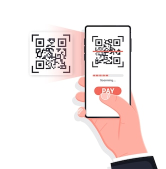 Scanning qr code with mobile smart phone isolated on white background