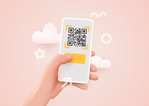 Scanning qr code with mobile smartphone. qr code payment e wallet  cashless technology