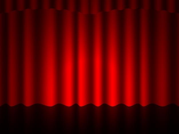 豪華なscar色の赤い絹のベルベットのカーテンとカーテンのインテリアデザインのアイデアの現実的なアイコン。