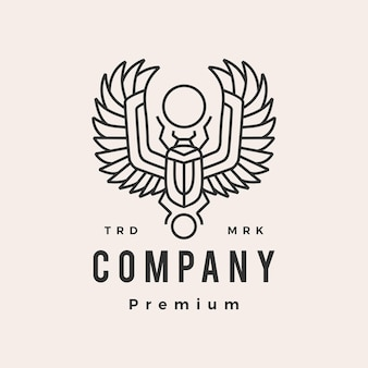 풍뎅이 딱정벌레 이집트 hipster 빈티지 로고 템플릿