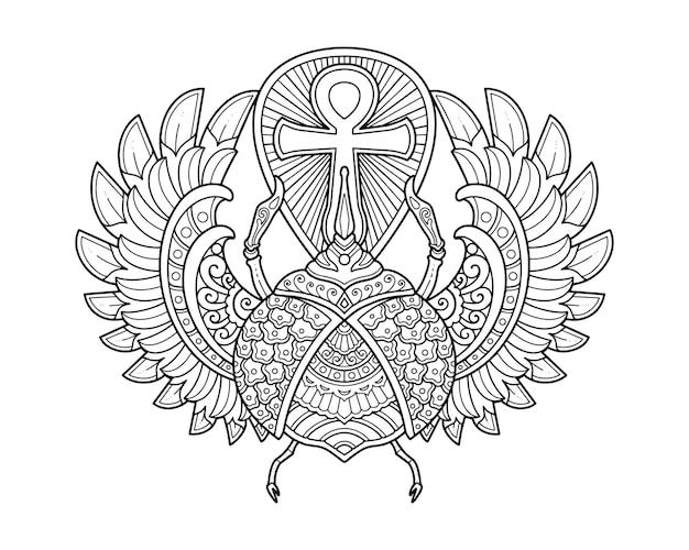 풍뎅이 딱정벌레 만다라 디자인. 색칠 페이지