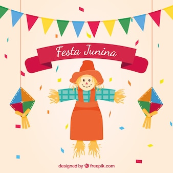 Scarecrow background with party decoration junina