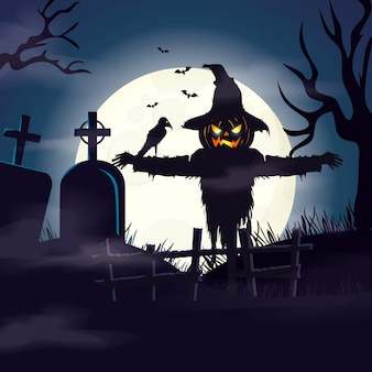 Scarecrow in cemetery in scene halloween illustration