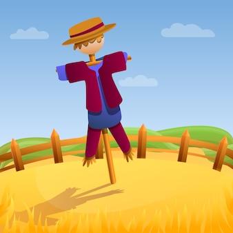 Scarecrow doll illustration, cartoon style