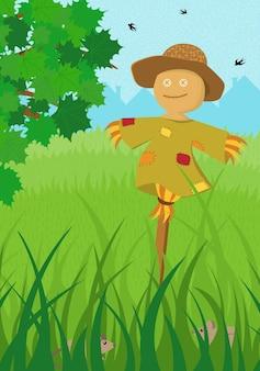 Пугало в зеленом поле летом плакат. ферма на природе сельский фон с листвой деревьев и высокой травой для сбора урожая. сельская местность сельхозугодий спокойный летний пейзаж. векторные иллюстрации шаржа