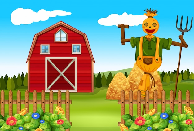농장 구내에서 허수아비