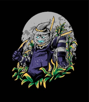 Scarecrow killer farmer vector illustration, suitable for t-shirt, apparel, print and merchandise products
