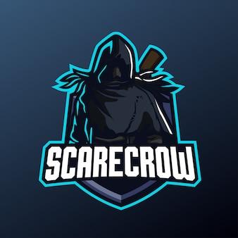 Пугало талисман для спорта и киберспорта логотип, изолированных на темном фоне