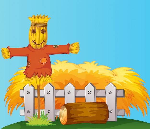 Scarecrow and straw cartoon style