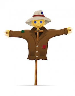 Scarecrow straw in a coat and hat vector illustration