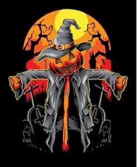 Scarecrow vector pumpkin