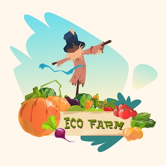 Scarecrow on vegetable field eco farming logo concept