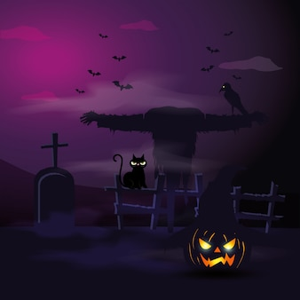 Scarecrow with cat and tomb in scene halloween illustration