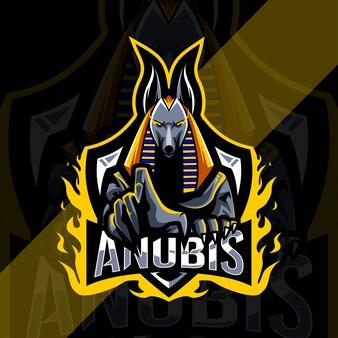 Испуганный талисман анубиса с логотипом киберспорта