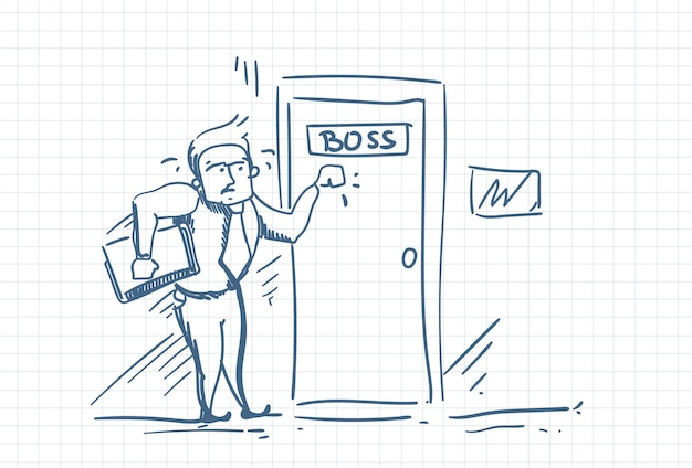 Scared business man knocking boss door afraid of blame.