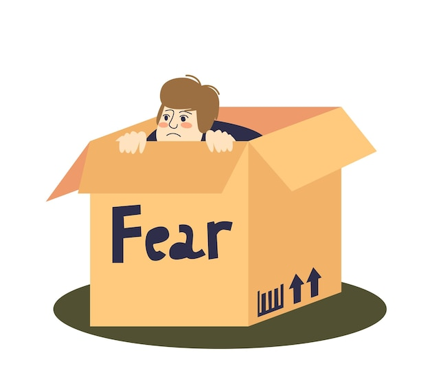 Scared cartoon man hiding in cardboard box
